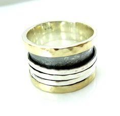 zilveren ring gehamerd goud zilver draaibare Bands door HadasGold, $149.00