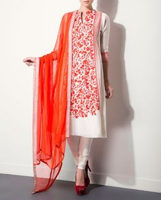 Ivory Kurta Set with Floral Prints - Shop By Category