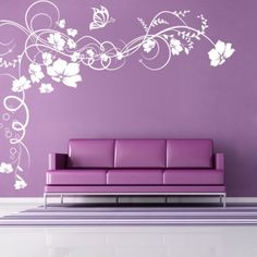 Vine Flowers with Butterfly - Floral Flowers - Wall Decals