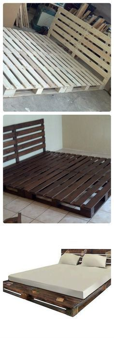 pallets usadas como base de cama / pallets used as bed frames