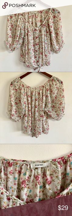 Anthropologie Poetry Sheer Floral Tie Front Blouse Hi! This is a Anthropolgie Poetry sheer top, beautiful floral print, sinched sleeves, tie front, womens size large Length: 20 inches Chest: 20 inches  Thanks for looking! Any questions just ask. *Bundle 2 or more items from my closet for 15% off!* (G) Anthropologie Tops Crop Tops