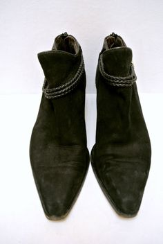 Vintage 1980s Via Spiga Black Leather and Suede Ankle Booties made in Italy by WallflowerAntiques on Etsy