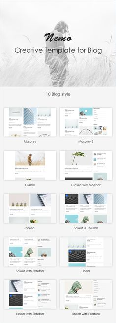 Buy Nemo Blog #PSDTemplate by SlideGood on ThemeForest. Nemo -Blog PSD Template is an awesome design idea for website of Blog, Portfolio. All of them keep standard web tren...