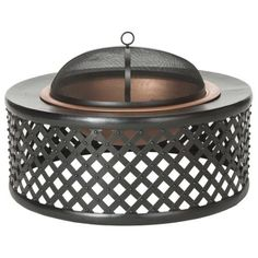 The Jamaica - Fire Pit by Safavieh features an antique look and elegant design, the Jamaica fire pit in dark copper and black features a bowl with lattice motif a country cottage look. Sold with domed screen arrestor, this wood-burning fire pit brings warmth without messy sparks. Visit PatioProductsUSA.com to purchase now! #firepittable #firetable #outdoorfirepit Copper Fire Pit, Wood Burning Fire Pit, Iron Fire Pit, Diy Fire Pit, Fire Pits, Metal Lattice, Fire Pit Table, Outdoor Fire, Outdoor Living