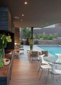 ✔ 47 trending small pool designs for your backyard 32 Outdoor Rooms, Outdoor Living, Indoor Outdoor, Outdoor Kitchens, Outdoor Pool Areas, Outdoor Life, Kleiner Pool Design, Small Pool Design, Design Exterior