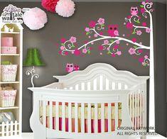 SALE Blossom Tree wall decal nursery with owl by wallstaledecor, $69.00