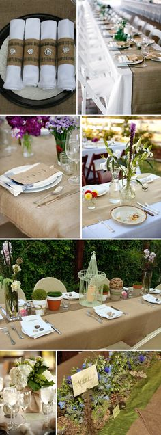 burlap for sure! love the green look of the table :)