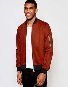 Shop the latest ASOS Bomber Jacket With Sleeve Zip In Rust trends with ASOS! Fashion Online, Kicks, Asos, Bomber Jacket, Mens Fashion, Zip, Sleeves, Jackets, Shopping