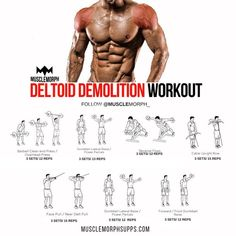 """""""DEMOLISH your DELTOIDS with this workout SAVE it & use it at the gymLIKE & FOLLOW @musclemorph_…"""""""