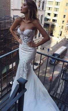 Sexy, Bodycon Strapless Wedding Dress