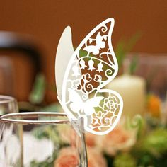 White Elegant Laser-cut Butterfly Place Cards (Set of 12) - Peach Flower
