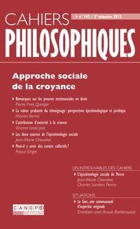 Cahiers philosophiques, n°142, 3ème trimestre 2015