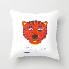 t i g e r Throw Pillow by #Anne_Wenkel // #Illustration & Fine Art - $20.00