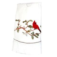 White Velvet Cardinal tree skirt at the Santa Claus Christmas Store.