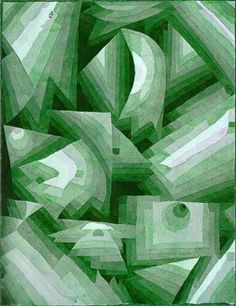 Monochromatic Paul Klee - Crystal Gradation. A green tinted reproduction of the 1921 watercolour which was in neutral tones.