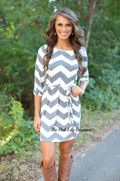 The Pink Lily Boutique - Grey Chevron 3/4 Sleeve Dress, $39.00 (http://thepinklilyboutique.com/grey-chevron-3-4-sleeve-dress/)