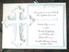 Handmade Baptism Invitations -Blue