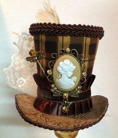 Mini top hat - Brown Steampunk Plaid