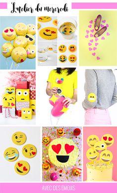 Quelques idées rigolotes de projets festifs DIY inspirés par les Emojis ou avec accents et en bon Français émoticônes.