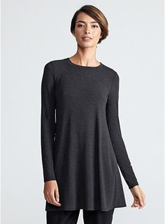 Crew Neck Tunic in Cozy Viscose Stretch Jersey eileen fisher