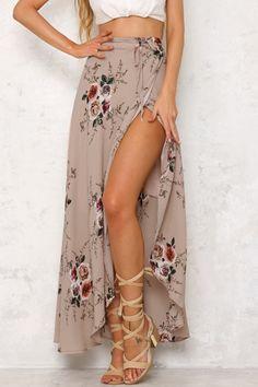 Random Floral Print Splited Hem Self-tie Maxi Skirt