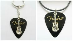 Black Fender guitar pick couples necklace and keychain set xmas gift  #12345market #Pendant Guitar Pick Necklace, Necklace Set, Pendant Necklace, Couple Necklaces, Xmas Gifts, Music Instruments, Pendants, Personalized Items, Couples