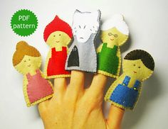 Little Red Riding Hood felt finger puppets by FeltFamilyPatterns