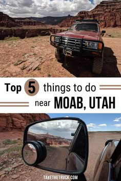 This post shares an itinerary and travel guide for hitting up the top 5 things to do near Moab, Utah over a three day vacation. These stops range from recommended hiking trails that are great to do with kids, to off road adventures, and one great place to eat. #takethetruck #moab #moabutah #utah #overlanding #adventure