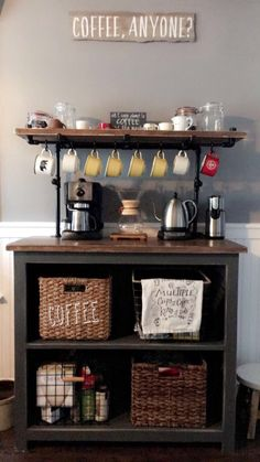 Coffee Bar with black iron rack by Worksnwood on Etsy https://www.etsy.com/listing/470909971/coffee-bar-with-black-iron-rack