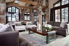 Living Room with Exposed beam, Columns, High ceiling, Pottery Barn Seabury Armchair, Hardwood floors, Carpet