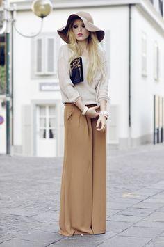 brown floppy hat + beige sweater + tan maxi + clutch