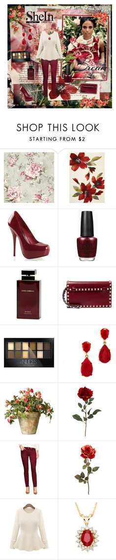 """""""SheInside"""" by kristina-kazlauskaite ❤ liked on Polyvore featuring Kalora, OPI, Dolce & Gabbana Fragrance, Valentino, Maybelline, Kenneth Jay Lane, OKA, 7 For All Mankind, R.H. Macy's & Co. and Love Quotes Scarves"""