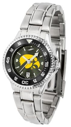 NCAA Iowa Hawkeyes Competitor Ladies' Steel AnoChrome Color Bezel Watch
