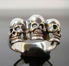 Skulls Manny, Moe and Jack - Large Sterling Silver Skull Ring - 176