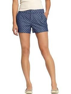 These will play well with bigger, more colorful prints.  Women's Patterned Shorts from Old Navy