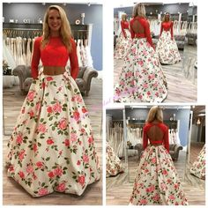 Prom Dresses Houston 2016 Awesome Two Pieces Prom Dresses With Long Sleeves And Keyhole Back High Neck Red Lace Print Floral Satin Ballgown Ring Dance Gowns Prom Dresses Long From Nicedressonline, $210.95| Dhgate.Com