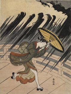 Suzuki Harunobu Title:Woman Running to Escape a Sudden Shower, Edo period, circa 1765-1770 Date:Edo period, Middle, 1704-1789 #japan_painting #Suzuki_Harunobu