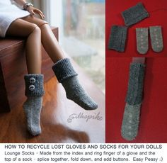 Elf socks from old gloves. How clever! - this is a lovely site and has information on all sorts of doll related things.
