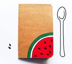 Watermelon handpainted notebook, decorated journal de InspirationalGecko por DaWanda.com