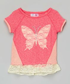 Love this Rose Butterfly Lace Rhinestone Tee on #zulily! #zulilyfinds