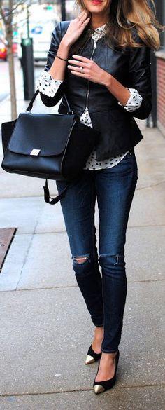 Point heels, dark denim + rip, tailored & architecturally interesting jacket, cuffed longer shirt