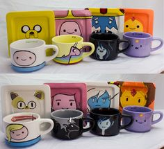 Adventure+Time+Mug+and+Saucer+set+of+4+by+TheFandomTeapot+on+Etsy,+$150.00