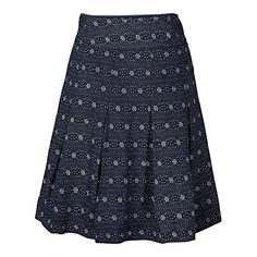 Buy Fat Face Pleated Floral Stripe Skirt, Navy