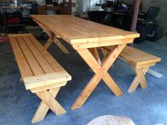 Picnic Table And Benches In Cedar Stain Built At Barleycorn Woodworks,  Northwood, NH