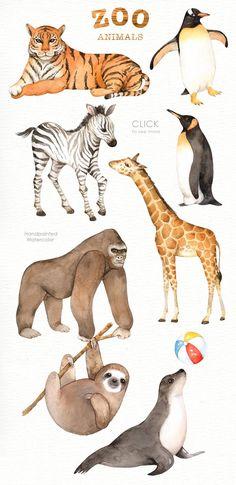 Zoo Animals Watercolor clipart by everysunsun on Safari Nursery, Animal Nursery, Nursery Prints, Nursery Art, Jungle Animals, Woodland Animals, Zoo Animals For Kids, Wild Animals, Baby Animals