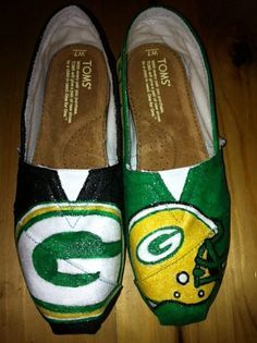 Green Bay Packers Hand painted Toms by ShoesByBrenda on Etsy, $93.00