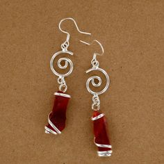 Sadie Green's Red Sea Glass Spiral Earring