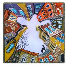 / an angel over the city / batik / Art Lessons, Colorful Art, Art Painting, Silk Painting, Glass Painting, Fabric Painting, Whimsical Art, Silk Art, Building Art