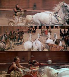 Judah Ben-Hur catching on to Messala in the chariot race. Ben-Hur 1959