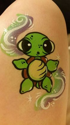 Turtle face/arm painting with split cake.